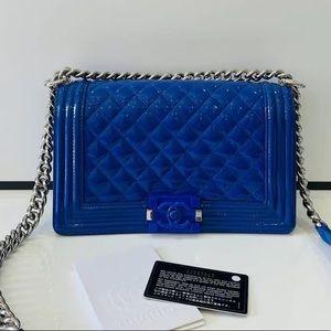 Chanel le boy old medium blue patent